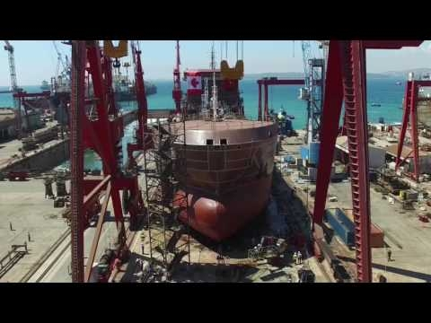 Embedded thumbnail for Launching of duel fuel LNG IMO-II chemical tanker M/T Paul A. Desgagnés