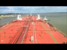 Embedded thumbnail for Oil tanker vessel M T Dolviken unberthing from Donges,France passing under St. Nazaire bridge